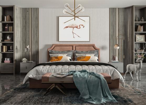 美式简约风格双人床 床头柜