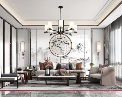 新中式客厅 沙发 茶几 贵妃凳 休闲椅 吊灯 壁灯 装饰品