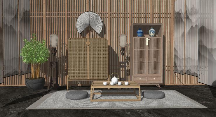 新中式风格茶室 新中式禅意茶室 茶桌茶台