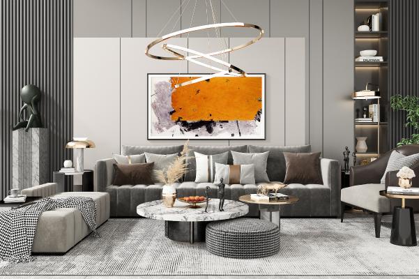 现代沙发茶几组合 单人座椅 吊灯