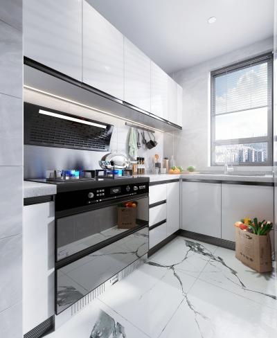 现代风格厨房橱柜 集成灶 摆件