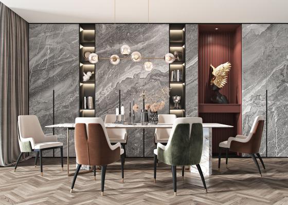 现代餐桌椅组合 现代餐椅 现代吊灯
