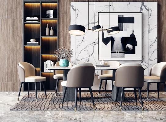 現代輕奢餐桌椅 吊燈組合