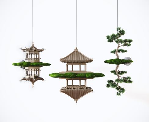 新中式古建筑镜像倒影吊饰摆设 禅意吊饰 凉亭吊饰 装饰摆件 陈设品
