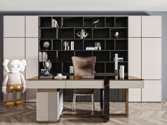 现代书桌椅组合 书桌 单人椅