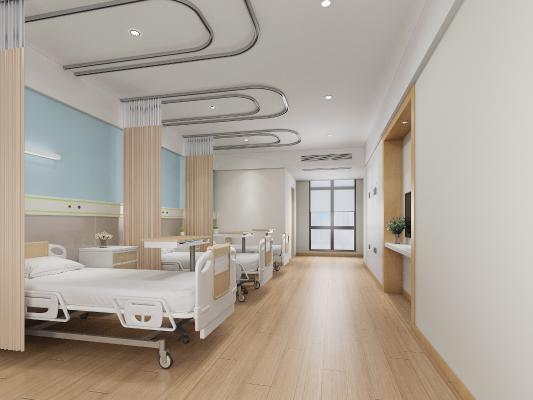 现代医院病房 病床 床头柜