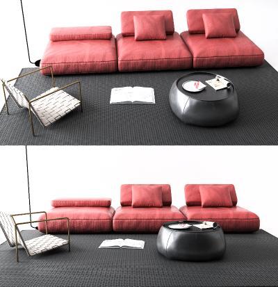 后现代皮革沙发
