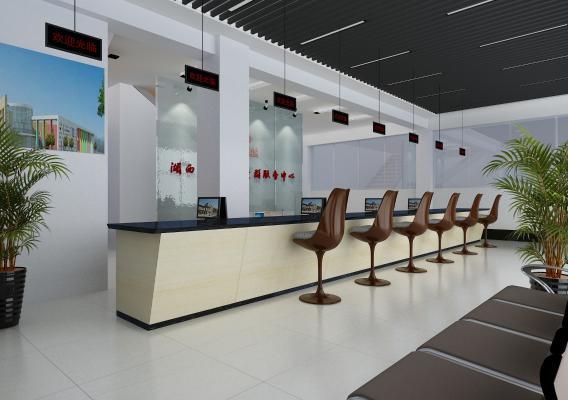 現代風格前臺接待 銀行大廳 服務大廳