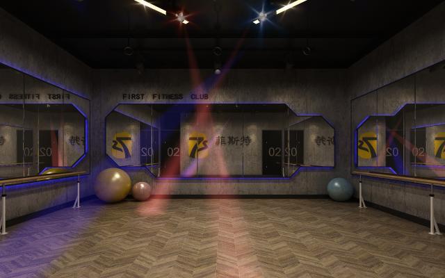 工业风健身房 瑜伽室 舞蹈室 瑜伽球 舞蹈栏杆