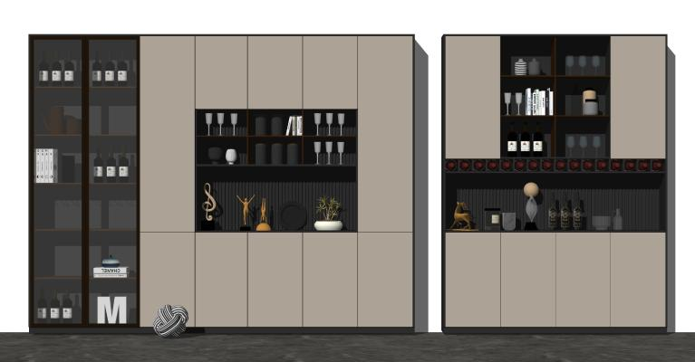 现代酒柜 餐边柜 饰品摆件