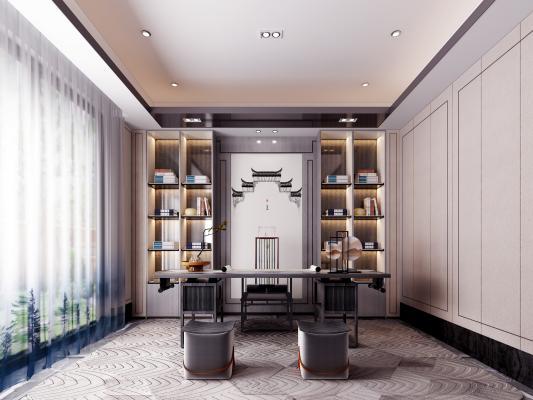 新中式书房 书柜 书桌椅