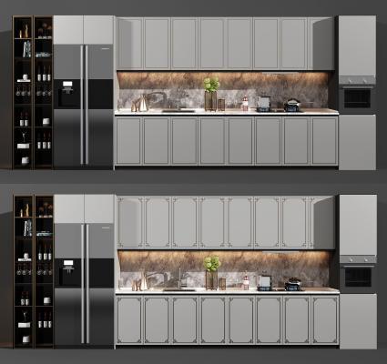 现代厨房 橱柜 酒柜