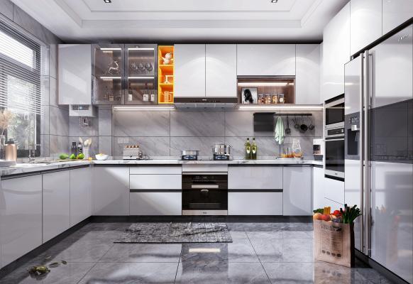 现代风格厨房 消毒柜 烟机