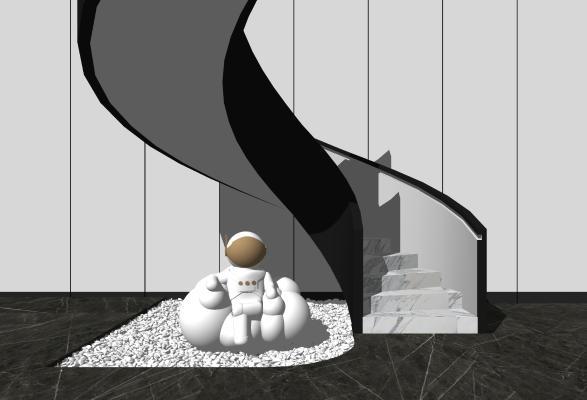 现代楼梯 摆件组合