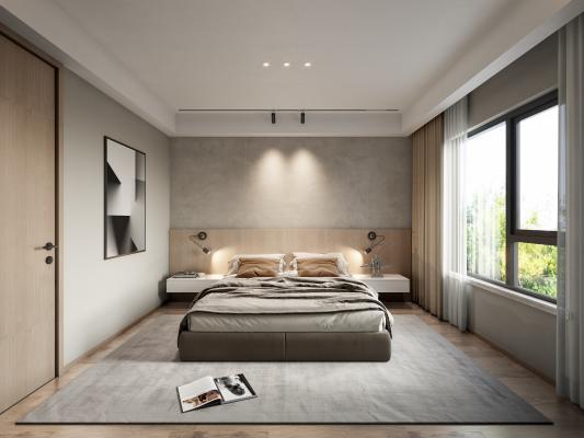 现代主卧室 双人床 灰色地毯