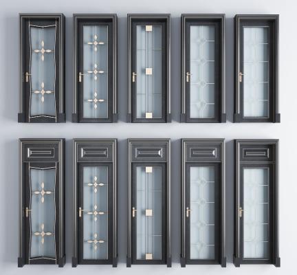 现代实木烤漆描金玻璃门组合 单开门