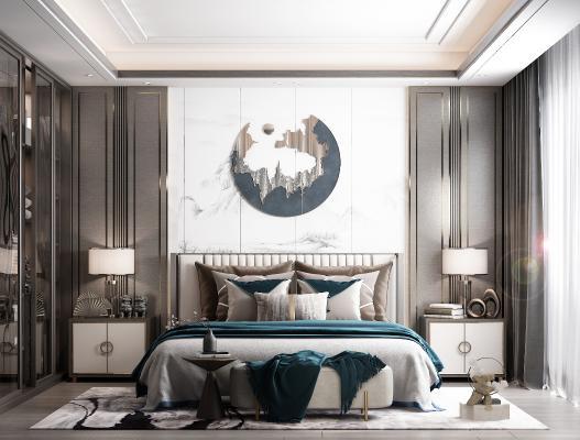 新中式卧室 装饰画 床头柜