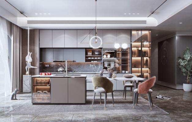 现代风格开放式厨房 餐厅 吧台