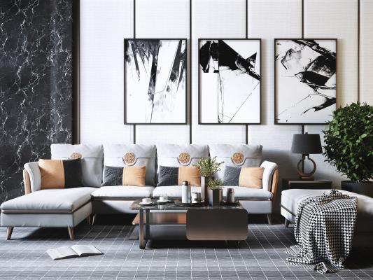 现代轻奢高级灰客厅 转角沙发茶几组合