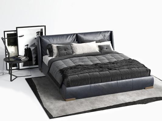 现代皮革双人床 单人床 床
