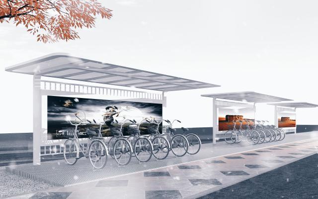 现代风格单体建筑 钢结构非机动车棚