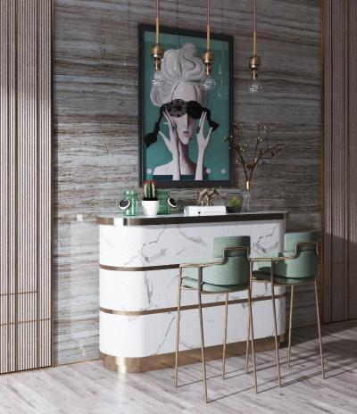 现代轻奢吧台吧椅组合 装饰品
