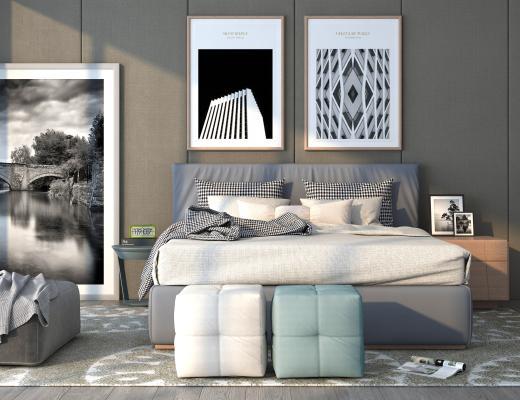 现代卧室床具组合 床头抽象挂画 床尾凳子