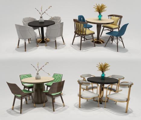 现代圆形休闲桌椅 植物