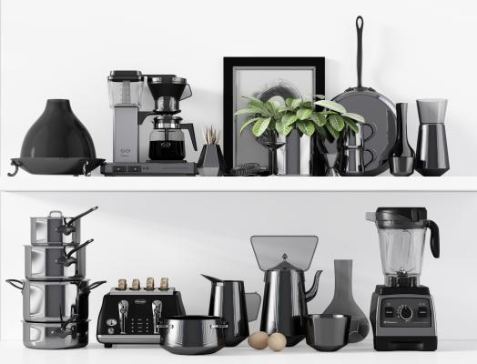 现代咖啡机 厨房器具 餐具组合