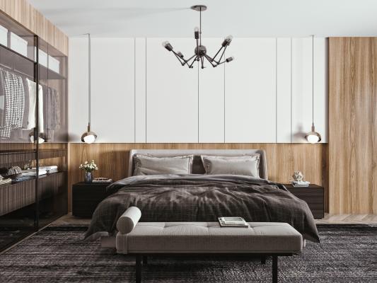 现代卧室 双人床 吊灯 床头柜