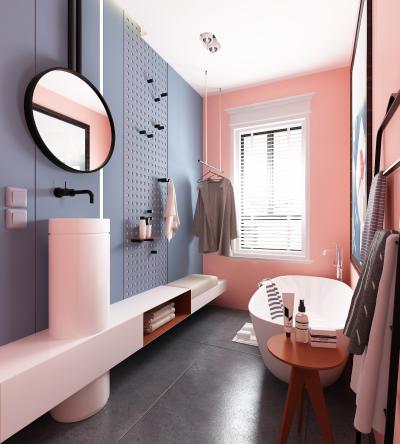 北欧粉色洗手间