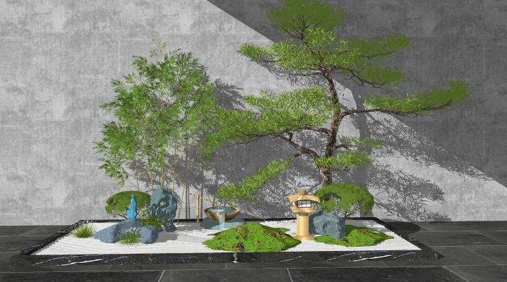 新中式庭院景观 假山水景 景观小品