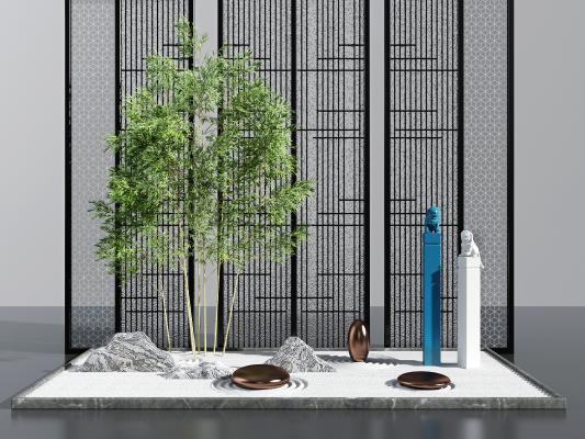 新中式竹子假山旱景景观