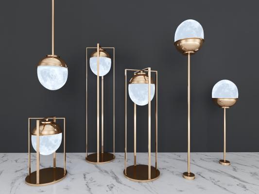 现代轻奢圆球灯具组合
