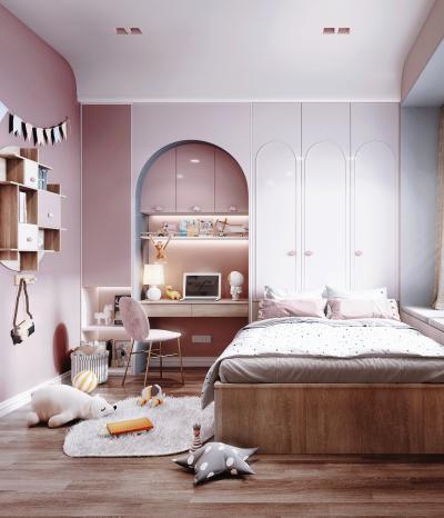 现代风格女孩房 书桌 床