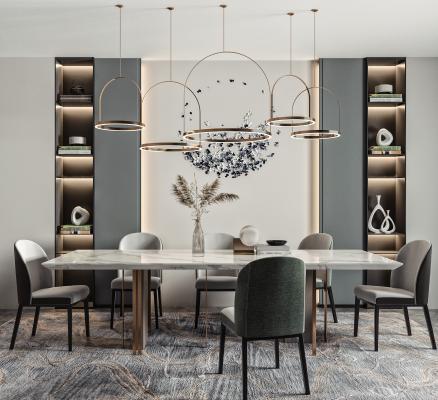 现代餐桌椅 吊灯组合 餐椅 大理石餐桌