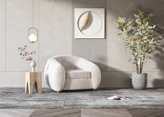 现代单人沙发 休闲沙发 沙发边几组合