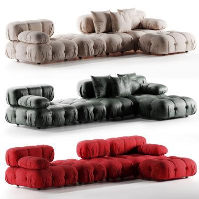 现代绒布转角沙发