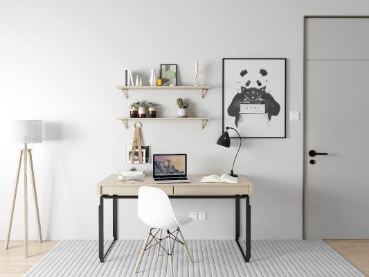 现代书桌椅 落地灯 摆件