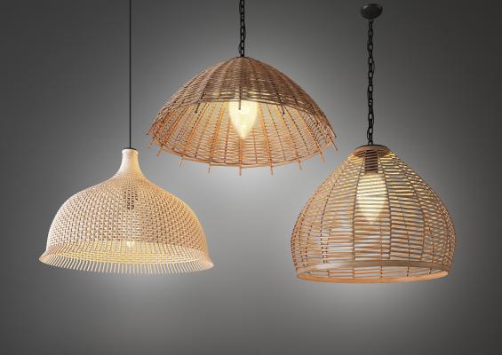 现代木质藤编吊灯