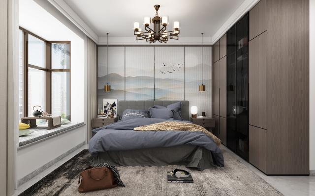 新中式卧室 床 吊灯