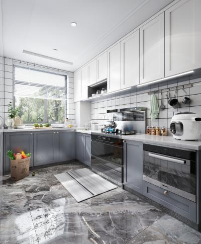 北欧风格厨房 集成灶 烤箱