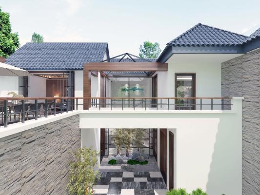 新中式风格别墅庭院 竹子 松柏