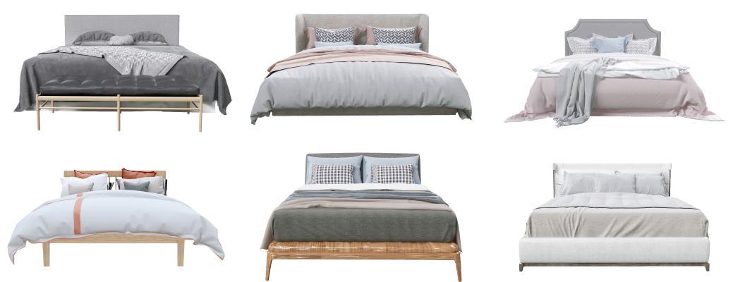现代双人床 双人床垫