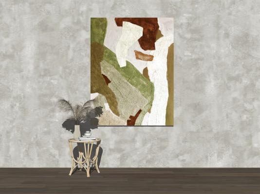 现代侘寂装饰挂画 边几 绿植