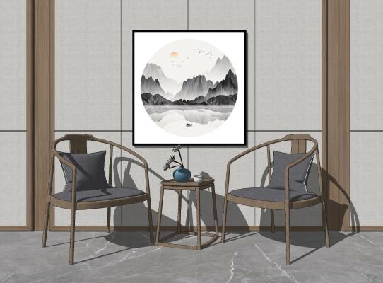 新中式休闲椅 装饰画组合