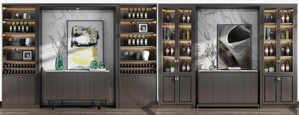 现代酒柜边柜摆件组合