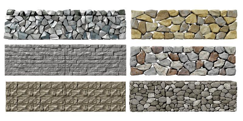 现代石头围墙 石头墙 景观墙