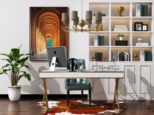 現代簡約書桌椅組合 電腦桌椅 金屬吊燈