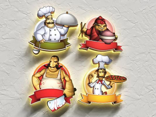 现代墙饰 卡通厨师 灯箱